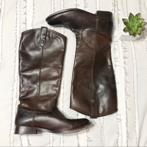 frye | melissa button boot dark brown size 10